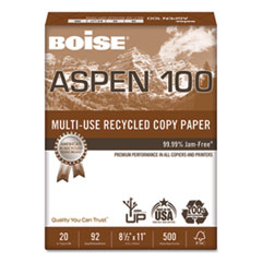 ASPEN Multi-Use Recycled Paper, 92 Bright, 20lb, 8.5 x 11, White, 500 Sheets/Ream, 10 Reams/Carton