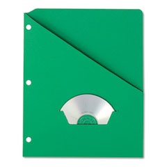 Essentials Slash Pocket Project Folders, 3 Holes, Letter, Green, 25/Pack