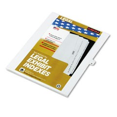 "80000 Series Legal Exhibit Index Dividers, 1/26 Cut Tab, ""M"", White, 25/Pack"