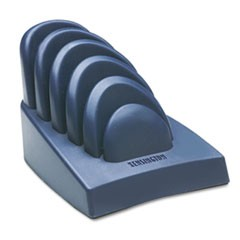 InSight Priority Puck Five-Slot Desktop Copyholder, Plastic, Dark Blue/Gray