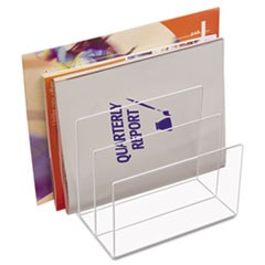 "Clear Acrylic Desk File, 3 Sections, Letter to Legal Size Files, 8"" x 6.5"" x 7.5"", Clear"