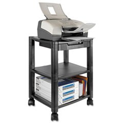 Mobile Printer Stand, Three-Shelf, 17w x 13.25d x 24.5h, Black