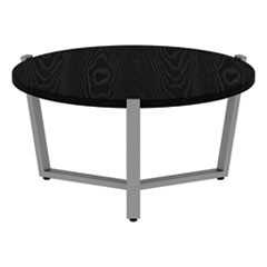 Round Occasional Coffee Table, 29 3/8 dia x 15 3/4h, Black/Silver