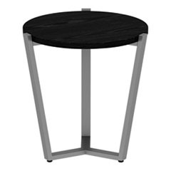 Round Occasional Corner Table, 21 1/4 dia x 22 7/8h, Black/Silver