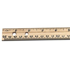 "Economical Beveled Wood Ruler w/Single Metal Edge, 12"", Natural, 36/Box"