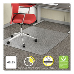 Deflecto Economat Occasional Use Chair Mat For Low Pile Carpet, 45 X 53, Rectangular, Clear