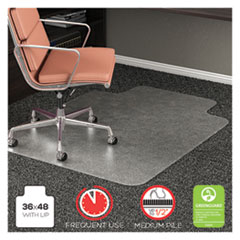 RollaMat Frequent Use Chair Mat, Med Pile Carpet, Flat, 36 x 48, Lipped, Clear