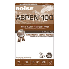 ASPEN Multi-Use Recycled Paper, 92 Bright, 20lb, 11 x 17, White, 500 Sheets/Ream, 5 Reams/Carton