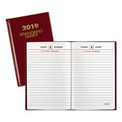 Standard Diary Recycled Daily Reminder, Red, 4 1/8 x 6 5/8, 2019