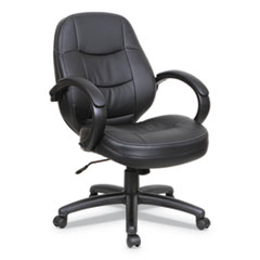 Alera Pf Series Mid-Back Leather Office Chair, Supports Up To 275 Lbs., Black Seat/Black Back, Black Base