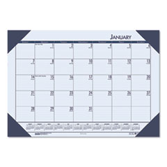 Recycled EcoTones Ocean Blue Monthly Desk Pad Calendar, 18 1/2 x 13, 2019