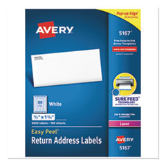 Easy Peel� Return Address Labels w/Sure Feed, Laser, 1/2 x 1 3/4, White, 8000/BX