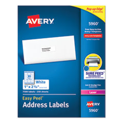 Easy Peel Mailing Address Labels, Laser, 1 x 2 5/8, White, 7500/Box