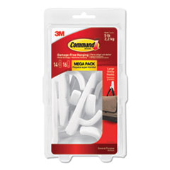 General Purpose Hooks, Large, 5 lb Cap, White, 14 Hooks and 16 Strips/Pack