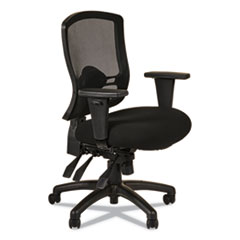 Alera Etros Series Mid-Back Multifunction with Seat Slide Chair, Supports up to 275 lbs., Black Seat/Black Back, Black Base