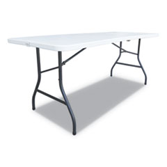 Fold-in-Half Resin Folding Table, 72w x 29 5/8d x 29 1/4h, White