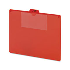 Poly Out Guide, Two-Pocket Style, 1/5-Cut Top Tab, Out, 8.5 x 11, Red, 50/Box