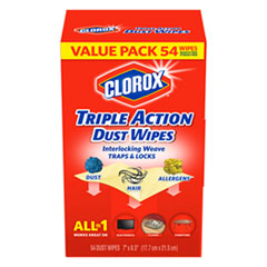 Triple Action Dust Wipes, White, 7 x 8 1/2, 54/Box, 5 Box/Carton