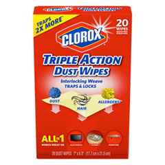 Triple Action Dust Wipes, White, 8 1/2 x 7, 20/Box, 10/Carton