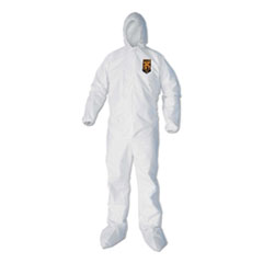 A40 Elastic-Cuff, Ankle, Hood and Boot Coveralls, Large, White, 25/Carton