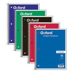 Coil-Lock Wirebound Notebooks, 1 Subject, Medium/College Rule, Assorted Color Covers, 10.5 x 8, 70 Sheets