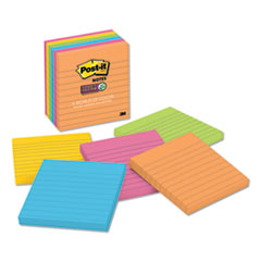 Post-It  Notes Super Stickypads In Rio De Janeiro Colors, Lined, 4 X 4, 90-Sheet Pads, 6/Pack