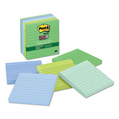 Post-It  Notes Super Stickyrecycled Notes In Bora Bora Colors, Lined, 4 X 4, 90-Sheet, 6/Pack