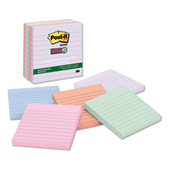 Post-It  Notes Super Stickyrecycled Notes In Bali Colors, Lined, 4 X 4, 90-Sheet, 6/Pack