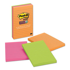 Post-It  Notes Super Stickypads In Rio De Janeiro Colors, Lined, 4 X 6, 90-Sheet Pads, 3/Pack