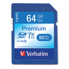 Verbatim 64Gb Premium Sdxc Memory Card, Uhs-I V10 U1 Class 10, Up To 90Mb/S Read Speed