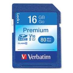 16GB Premium SDHC Memory Card, UHS-I V10 U1 Class 10, Up to 80MB/s Read Speed