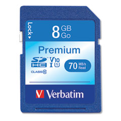 Verbatim 8Gb Premium Sdhc Memory Card, Uhs-1 V10 U1 Class 10, Up To 70Mb/S Read Speed