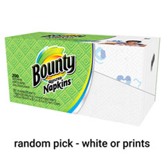 Quilted Napkins, 1-Ply, 12 1/10 x 12, Assorted - Print or White, 200/Pack