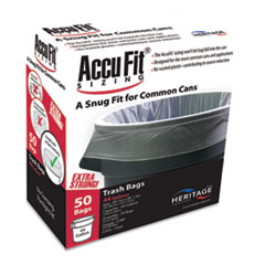 "Linear Low Density Can Liners with AccuFit Sizing, 44 gal, 0.9 mil, 37"" x 50"", Clear, 50/Box"