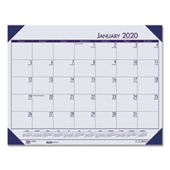 Recycled EcoTones Ocean Blue Monthly Desk Pad Calendar, 18 1/2 x 13, 2020