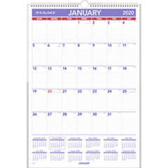 Erasable Wall Calendar, 15 1/2 x 22 3/4, White, 2019