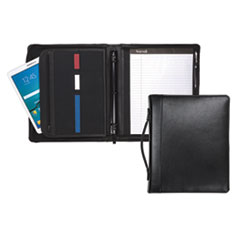 "Leather Multi-Ring Zippered Portfolio, Two-Part, 1"" Cap, 11 x 13 1/2, Black"