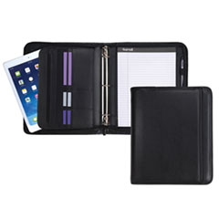 Professional Zippered Pad Holder/Ring Binder, Pockets, Writing Pad, Vinyl Black