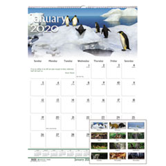 Recycled Wildlife Scenes Monthly Wall Calendar, 15 1/2 x 22, 2019