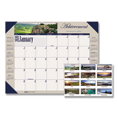 Recycled Motivational Photographic Monthly Desk Pad Calendar, 22 x 17, 2020