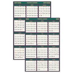 Recycled 4 Seasons Reversible Business/Academic Wall Calendar, 24x37, 2019-2020