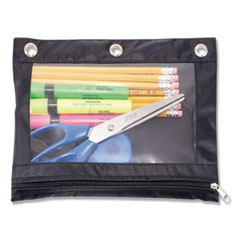 Binder Pencil Pouch, 10 x 7 3/8, Black/Clear