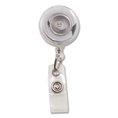 "Translucent Retractable ID Card Reel, 34"" Extension, Clear, 12/Pack"