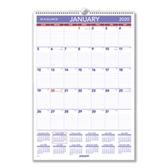 Erasable Wall Calendar, 15 1/2 x 22 3/4, White, 2020