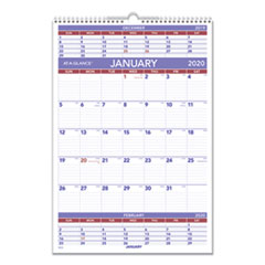 Three-Month Wall Calendar, 15 1/2 x 22 3/4, 2020