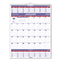 Three-Month Wall Calendar, 22 x 29, 2020