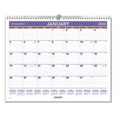 Monthly Wall Calendar, 15 x 12, Red/Blue, 2020