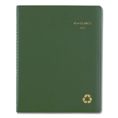 Recycled Weekly/Monthly Classic Appointment Book, 10.88 x 8.25, Green, 2020