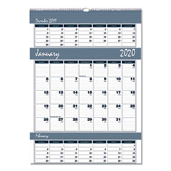 Recycled Bar Harbor Three-Months-per-Page Wall Calendar, 12 x 17, 2019-2021