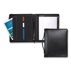 Samsill Leather Multi-Ring Zippered Portfolio, Two-Part, 1  Cap, 11 X 13 1/2, Black